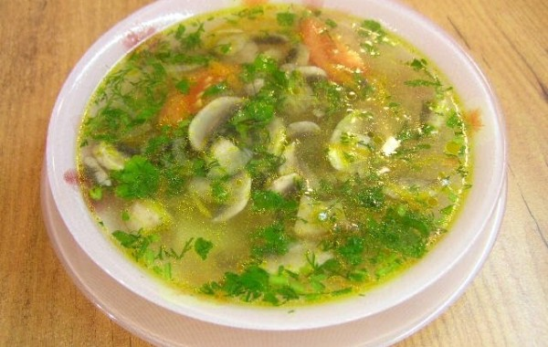 Грибной негустой суп без картошки