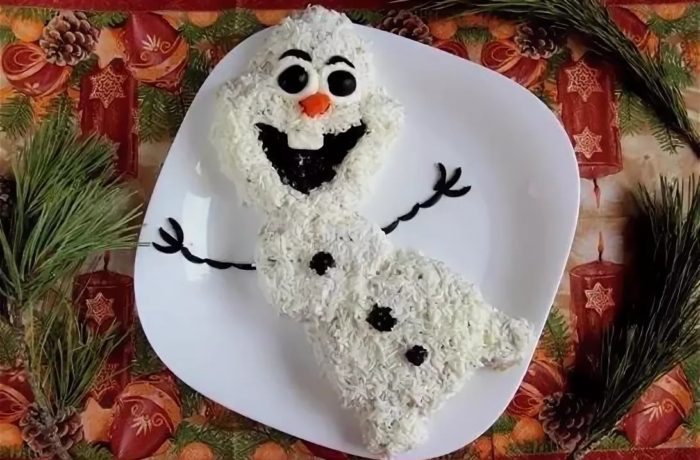 Морской салат «Веселый снеговик»